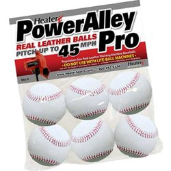 PowerAlley Leather Pitching Machine Baseballs 6-Pack