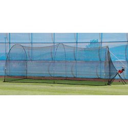 BaseHit Pitching Machine with PowerAlley Home Batting Cage