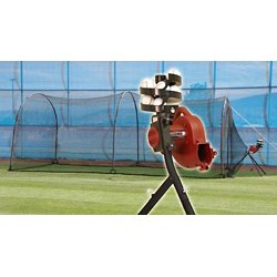 BaseHit Pitching Machine with Xtender 24 Home Batting Cage
