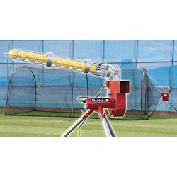 Heater Baseball Pitching Machine and Xtender 24 Home Batting Cage