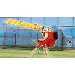 Heater Softball Pitching Machine with Xtender 24 Home Batting Cage