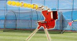 Heater Combo Pitching Machine and Xtender 24' Home Batting Cage