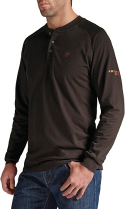 Men's Flame Retardant Long Sleeve Henley Work Shirt