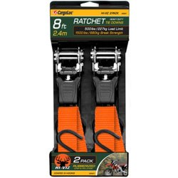 CargoLoc Hi-Viz 8' Heavy Duty Ratchet Tie Downs 2-Pack