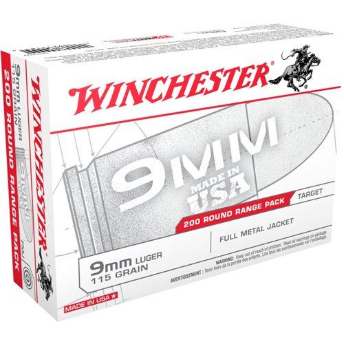 Winchester 9mm 115-Grain FMJ 200-round Centerfire Pistol Ammunition