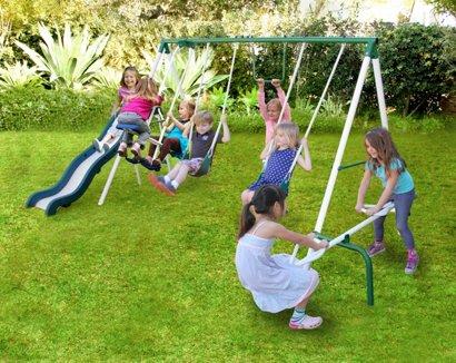 Sportspower Live Oak Metal Swing And Slide Set Academy