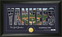 The Highland Mint New York Yankees Silhouette Bronze Coin Panoramic Photo Mint