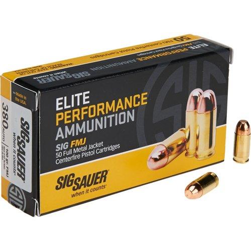 SIG SAUER Elite Ball .380 Auto 100-Grain FMJ Pistol Ammunition