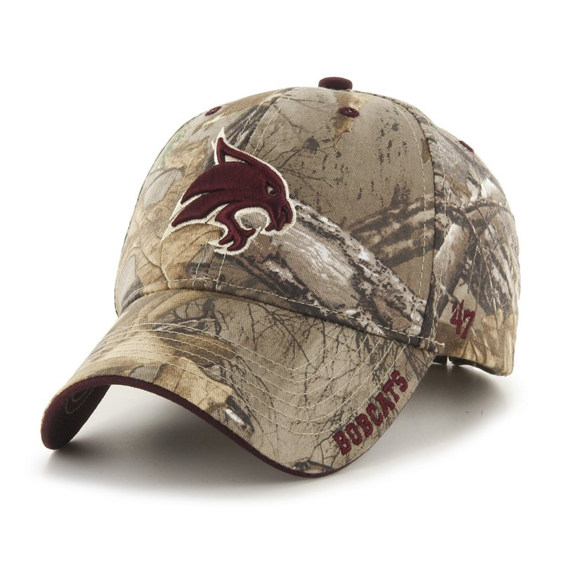 The '47 Adults' Texas State University Realtree Frost Camo MVP Cap features embroidered team logos and a Realtree camo pattern. Available at Academy Sports + Outdoors.