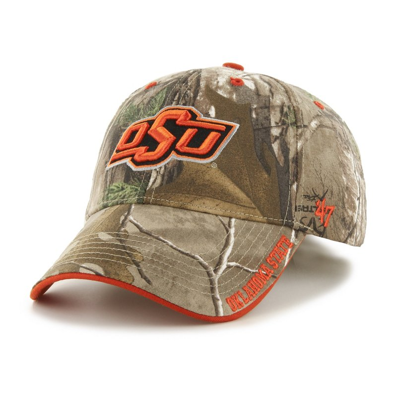 The '47 Adults' Oklahoma State University Realtree Frost Camo MVP Cap features embroidered team logos and a Realtree camo pattern. Available at Academy Sports + Outdoors.