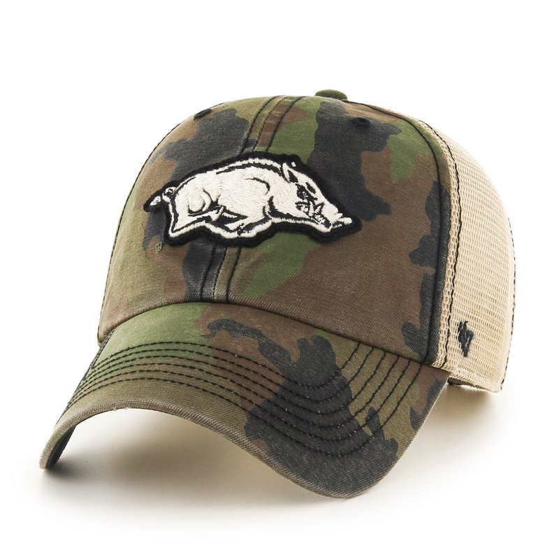 The '47 Adults' University of Arkansas Burnett Cleanup Cap features a camo pattern and team name and logo embroidery. Available at Academy Sports + Outdoors.
