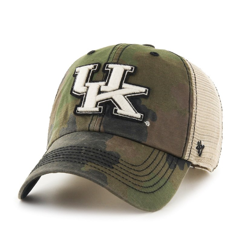 The '47 Adults' University of Kentucky Burnett Cleanup Cap features a camo pattern and team name and logo embroidery. Available at Academy Sports + Outdoors.