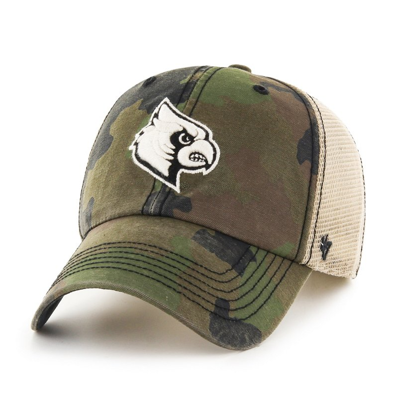The '47 Adults' University of Louisville Burnett Cleanup Cap features a camo pattern and team name and logo embroidery. Available at Academy Sports + Outdoors.
