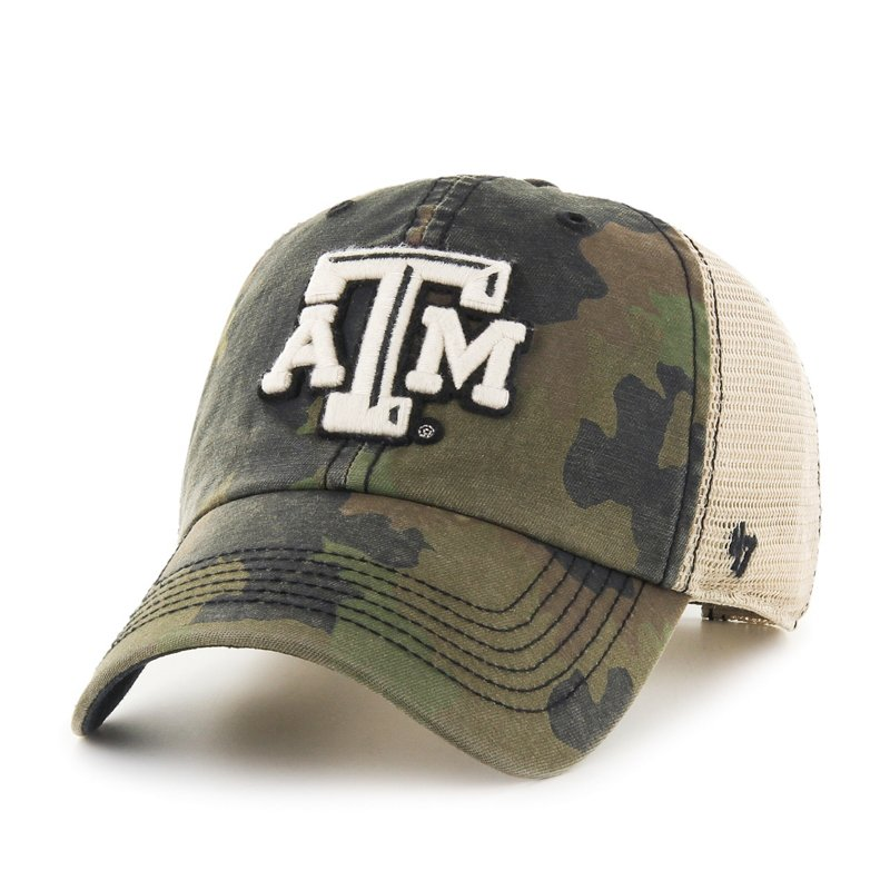 The '47 Adults' Texas A&M University Burnett '47 Clean Up Camo Cap features a team logo and a camo print. Available at Academy Sports + Outdoors.