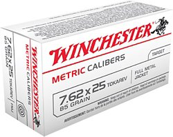 Winchester Metric 7.62 x 25mm Tokarev 85-Grain Full Metal Jacket Centerfire Rifle Ammunition