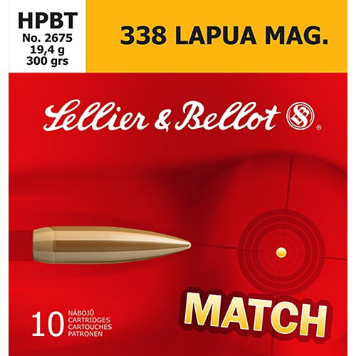 Sellier & Bellot .338 Lapua Magnum 300-Grain Boat Tail HP Centerfire Rifle Ammunition