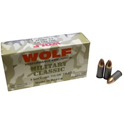 Classic 9mm 115-Grain FMJ Centerfire Handgun Ammunition