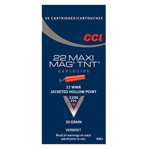 CCI Maxi-Mag TNT .22 Win Magnum 30-Grain Jacketed Hollow Point Rimfire Ammunition