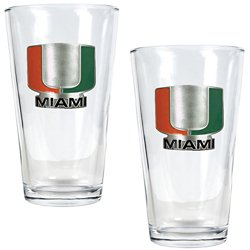 Great American Products University of Miami 16 oz. Pint Glasses 2-Pack