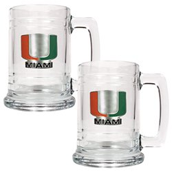 Great American Products University of Miami 15 oz. Glass Tankards 2-Pack
