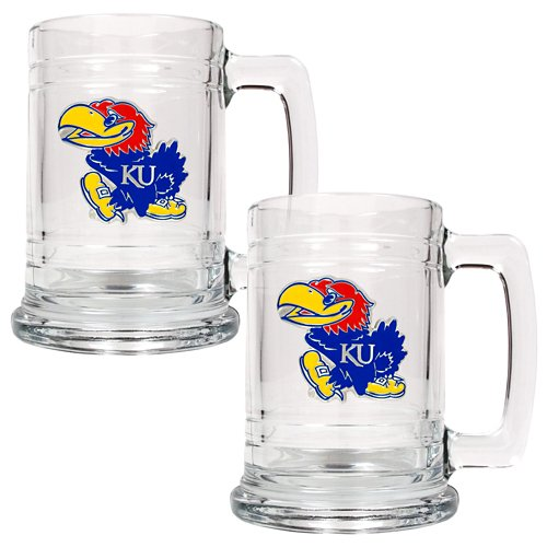 Great American Products University of Kansas 15 oz. Glass Tankards 2-Pack