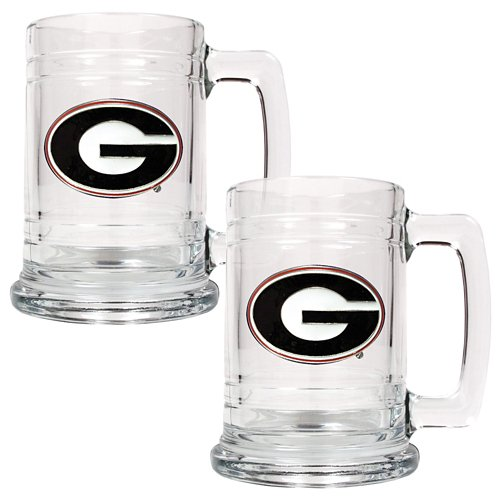 Great American Products University of Georgia 15 oz. Glass Tankards 2-Pack