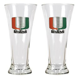 Great American Products University of Miami 19 oz. Pilsner Glasses 2-Pack