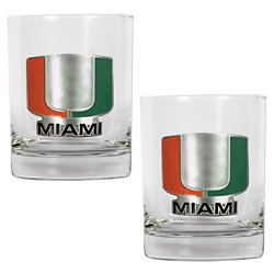 Great American Products University of Miami 14 oz. Rocks Glasses 2-Pack
