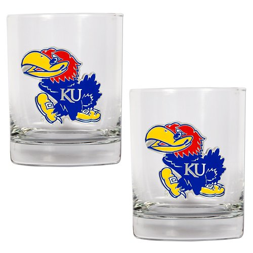 Great American Products University of Kansas 14 oz. Rocks Glasses 2-Pack