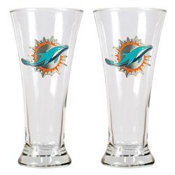 Great American Products Miami Dolphins 19 oz. Pilsner Glasses 2-Pack