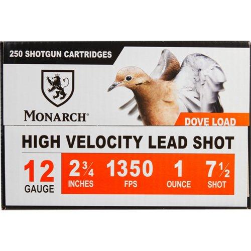 Monarch Light Dove 12 Gauge #7 1/2 Shotshells 250-Round Case