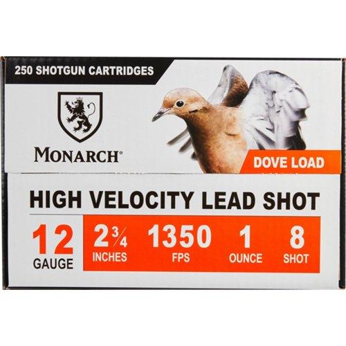 Monarch Light Dove 12 Gauge #8 Shotshells 250-Round Case