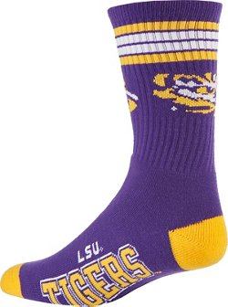 For Bare Feet Adults' Louisiana State University 4-Stripe Deuce Socks