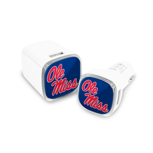 Mizco University of Mississippi USB Chargers 2-Pack