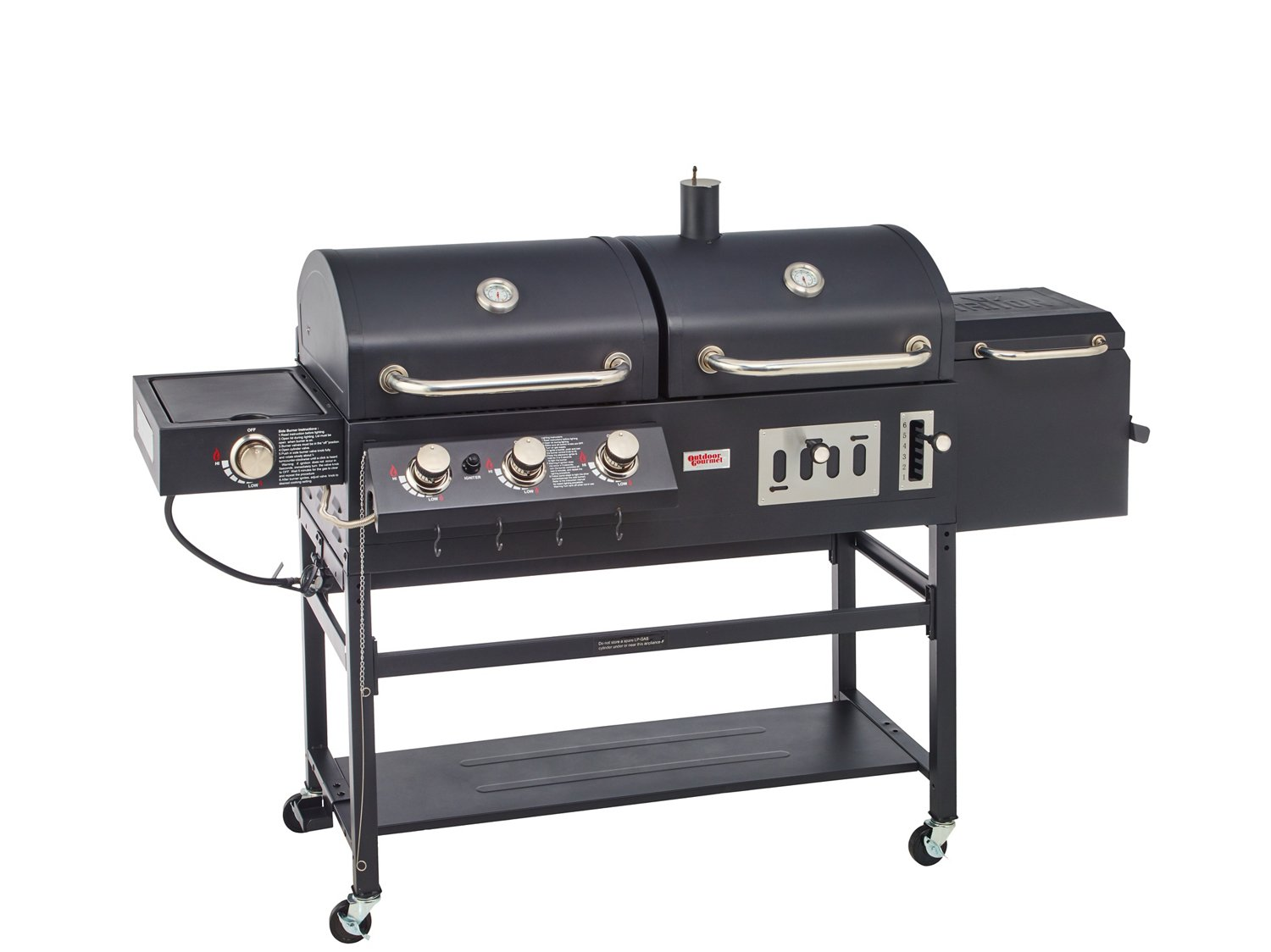 Outdoor Gourmet Triton Clic Gas Charcoal Grill And Smoker Box Academy
