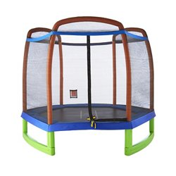 Kids' 7 ft Trampoline with Enclosure and Tic-Tac-Toe