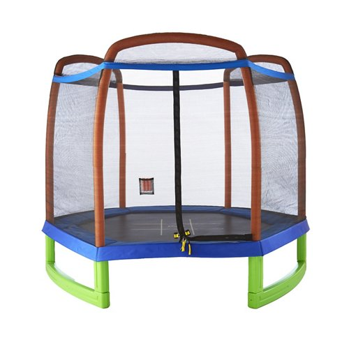 Pure Fun Kids' 7 ft Trampoline with Enclosure and Tic-Tac-Toe