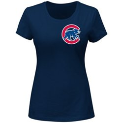 Majestic Women's Chicago Cubs Road Wordmark Short Sleeve Crew Neck T-shirt