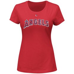 Majestic Women's Los Angeles Angels Wordmark Short Sleeve Crew Neck T-shirt