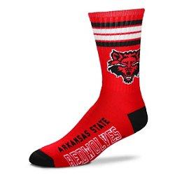 For Bare Feet Adults' Arkansas State University 4-Stripe Deuce Socks