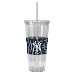 Boelter Brands New York Yankees Bold Neo Sleeve 22 oz. Straw Tumblers 2-Pack