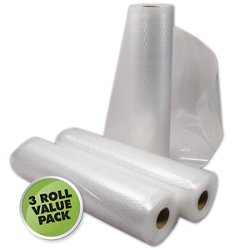 "Weston 11"" x 18' Quart Size Vacuum Bag Rolls 3-Pack"