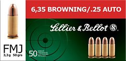 Sellier & Bellot .25 ACP 50-Grain Full Metal Jacket Centerfire Handgun Ammunition