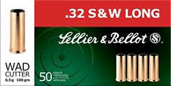 .32 S&W Long 100-Grain Wadcutter Centerfire Handgun Ammunition