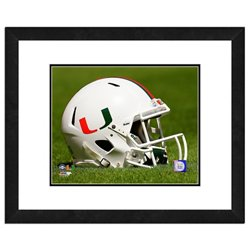 "Photo File University of Miami Helmet 16"" x 20"" Matted and Framed Photo"