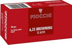 Fiocchi Pistol Shooting Dynamics .25 ACP 50-Grain Full Metal Jacket Centerfire Handgun Ammunition
