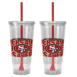 Boelter Brands San Francisco 49ers Bold Neo Sleeve 22 oz. Straw Tumblers 2-Pack