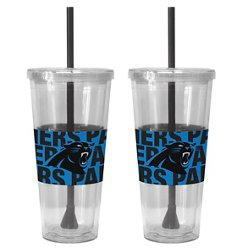Boelter Brands Carolina Panthers Bold Neo Sleeve 22 oz. Straw Tumblers 2-Pack
