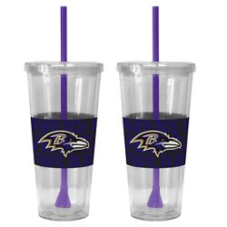 Boelter Brands Baltimore Ravens Bold Neo Sleeve 22 oz. Straw Tumblers 2-Pack