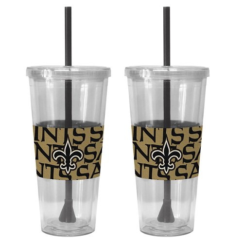 Boelter Brands New Orleans Saints Bold Neo Sleeve 22 oz. Straw Tumblers 2-Pack